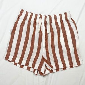 Jag Linen Striped Shorts High Waisted